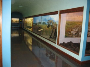 Third-floor exhibits at the museum