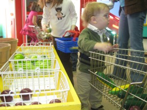 Peanut with his shopping cart next to faux fruit in the Farm to Market exhibit.