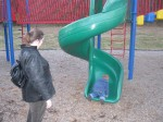 Peanut tries to climb up a green spiral slide while Phouka looks on.