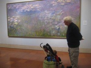 Peanut and Grandfather look at the Monet's Waterlilies.