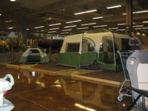 Tents set up on the second floor.