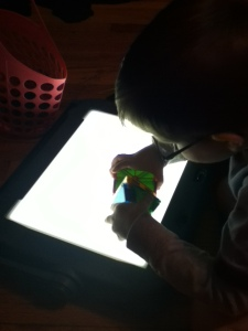 Peanut plays with Magna-Tiles on his light box.