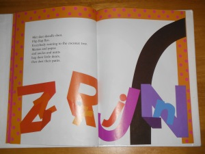 Two of the interior pages of the book. The bending black shape on the right page is the trunk of the coconut tree.