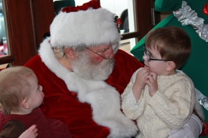 Sprout and Peanut visit with Santa at Breakfast With Santa last year.