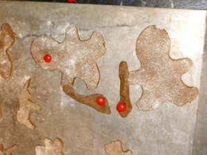 As I said--gingerbread boys with canes.  The imperials make a lovely ball at the tip!