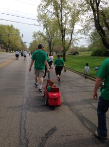 Family Team members participate in the Trolley Run.