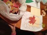 Our bag of leaves and the beginning of one of our cards.